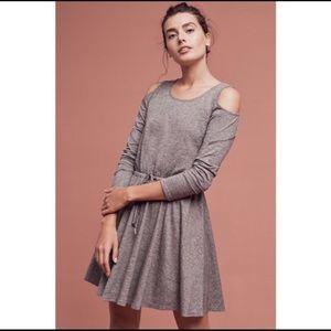 Anthropologie Grey Cold Shoulder Dress